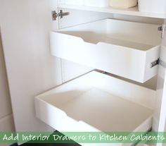 How to Build Interior Drawers to Kitchen Cabinets.  #interiordesigns #interior #build #diy #creative #ideas #idea #home #howtomake #howtobuild #pinterest #love @Mad4Clips
