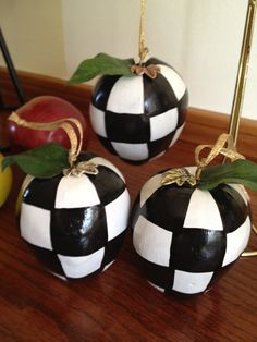 Black and White Checked Apples  Ornaments by paintingbymichele, $10.00 appl ornament, check appl, white check, white christma, apples, white poka, ornaments, black