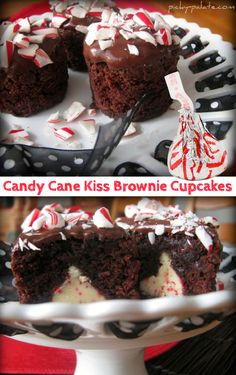 Candy cane kiss centered brownie cupcakes