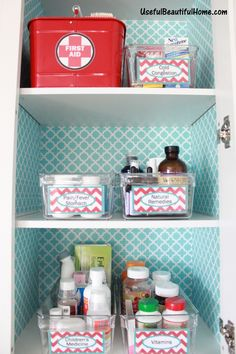 Get a handle on your medicine cabinet with this spiffy tutorial via Useful Beautiful Home (This makes me want to wallpaper the hall linen closet. It's always so dark and this is too stinking cute and bright. I love that.)