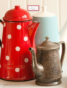 pitchers and tea pots...I strangely like the red one with white polka dots