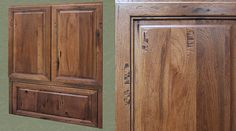 This custom wall cabinet is designed with an inset, tip-up door in place of the standard roll-up appliance garage door. The Artisan 5 distressing looks great on Rustic Hickory!