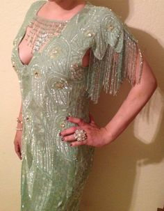 FABULOUS VINTAGE SEQUINS Mint Cocktail Backless Flapper Style Dress with Beaded Fringe. $175.00, via Etsy.