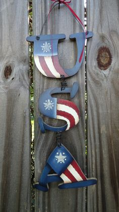 Patriotic USA letters by bkgcustomcrafts on Etsy, $20.00