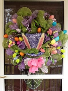 Easter Bunny Hat Mesh Wreath by WreathsEtc on Etsy, $170.00
