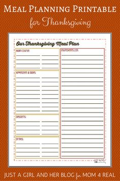 Thanksgiving Menu Meal Planning- Free Printable - Just A Girl And Her Blog