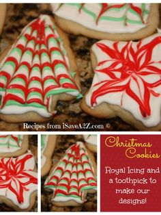 These are easy Christmas Cookies that are decorated using a toothpick!!! EASY!!!