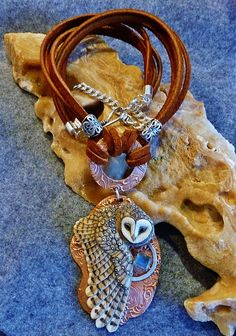 "Maya Owl custom handmade porcelain owl sterling silver and copper necklace by Rebecca Jurgens. Porcelain Owl ""Maya"" by Laura Mears"