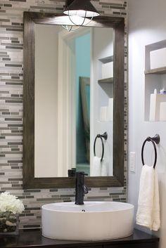 Bathroom Vanity Idea | light fixture, backsplash, mirror, sink. adore.