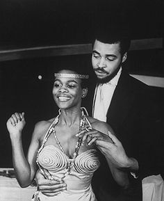 Cicely Tyson and James Earl Jones in a scene from the Off-Broadway production of the play The Blacks,1961