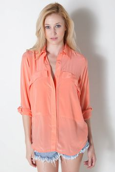Slope Pocket Silk Shirt in Peach by Shakuhachi for $266.00
