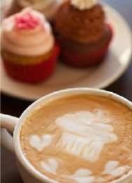crushcakes & cafe | Cupcakery and cafe in Santa Barbara and Carpinteria - check out the foam art in the coffee cup!   (805) 684-4300