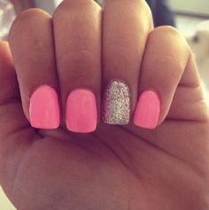 Girly pink manicure with gold glitter accent nails
