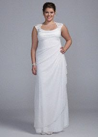 You will look breathtaking in the timeless and chic wedding dress!  Empire bodice features ultra-femininelace cap sleeves and eye-catching open back detail.  Sheer mattemeshdress with side drape mesh skirt isaccented witha cascadewhichadds dimension and creates a long and soft silhouette.  Mesh wrap included.  Fully lined. Back zip. Imported polyester. Dry clean only.  To protect your dress, try our Non Woven Garment Bag. Available in Missy sizes as ...