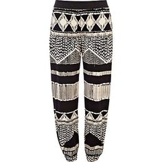 River Island - Black and white aztec print jogger trousers - cropped trousers / joggers - trousers - women
