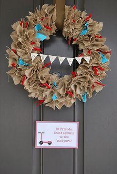 Fun and shabby burlap wreath