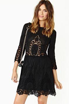 Valentina Crochet Dress in Black by #DolceVita