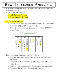 Here's a page of notes on how to reduce fractions using the GCF and prime factorization.