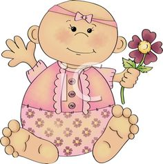 iCLIPART - Royalty Free Clipart Image of a Baby With Flowers