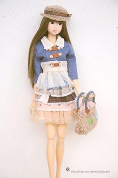 jiajiadoll ~ hand knitted cream bird and clover little bag handbag via etsy