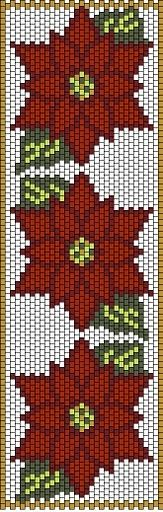 Red flowers peyote bracelet