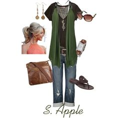 Green Vest, created by sapple324 on Polyvore