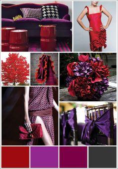 red, purple, dark grey