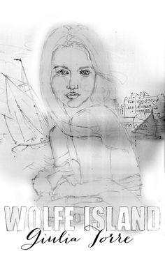 Wolfe Island cover art sketch. Tracy Hetzel. Long Blue Straw.