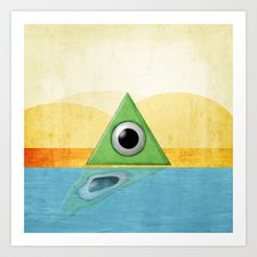 Green Triangle Monster Art Print by Kevin Huer - $14.56