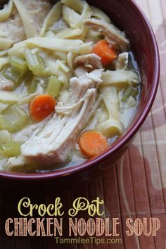 Crock Pot Chicken Noodle Soup! This soup is ah-mazing! So easy to make and perfect for Fall or any time of the year!