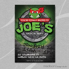 Teenage Mutant Ninja Turtle - TMNT - DIY Printable - Personalized Invitation on Etsy, $18.00