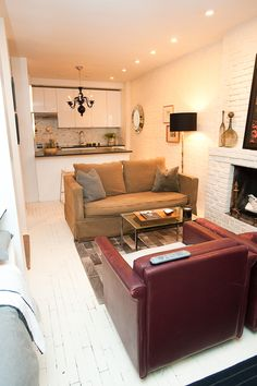 cozy ny apartment - they painted the exposed brick? gasp!