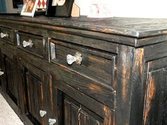 bar, black, buffet, chunky, credenza, finish, finishes, furniture, heavy, house of rumours, paint, refinished, rustic, shabby chic, sideboard, tres amigos, wormwood, distressed, furniture,