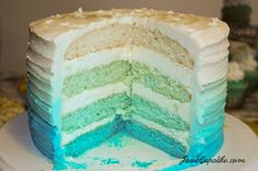 Blue Ombre Cake + Tutorial by JavaCupcake