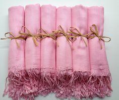 Set of 6 Baby Pink, Blush Pink Shawls, Pashminas, Scarf, Shawl, Wedding Favor, Bridal Shower Gift, Bridesmaids Gift, Wrap, Welcome Bags