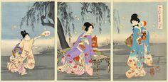 Women & Fireflies | Tattoo Ideas & Inspiration - Japanese Art | Chikanobu (Triptych), 1896. From the Chiyoda Inner Palace (Chiyoda no O-Oku) Series | #Japanese #Art #Firefly