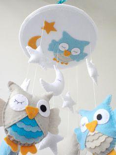 owl nursery mobile for baby boys