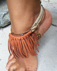 Fringe Bohemian Anklet, Chain Anklet, Peace Anklet, Leather Anklet, Bohemian Jewelry, Tribal. $38.00, via Etsy.