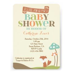 Baby shower invitation with little fox- Woodland Theme-  Can be used for a baby boy, girl or when the gender is unknown.