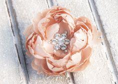 Gorgeous peach hair peony clip - perfect for bridesmaids hair