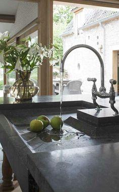 Black stone kitchen sink