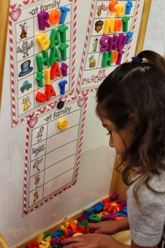 Word Work Ideas (from Kindergarten Smiles) ***love the board/shelf idea***