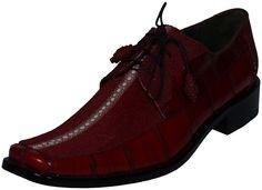 Amazon.com: Burgundy Brown Exotic Leather STINGRAY EEL Snake Lace-Up Men's Designer Dress