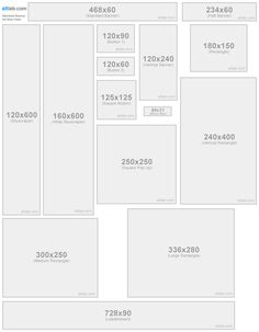 Web, e-commerce, Standard Banner Sizes, cheat sheet, overview, pixel size