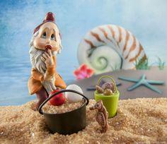 Mini Dreamy Gnome on the fairy garden beach.