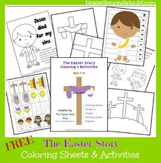 FREE The Easter Story Coloring & Activities for ages 2-10.  #Easter #homeschool #education