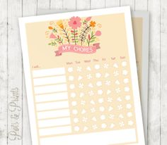 Printable chore chart Happy floral chore chart by PotsPrints