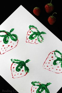 preschool paint, craft, strawberri print, kid, food preschool art