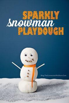 Sparkly Snowman Playdough – White Playdough Recipe