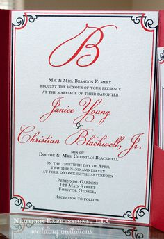 Red and Silver Grey Wedding Invitation